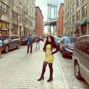 Yellow plaid dress